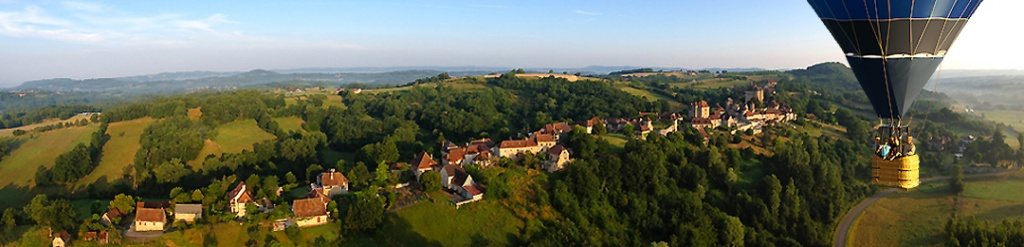 voici une photo représentative de notre galerie de photos : vol en montgolfière sur Curemonte en Corrèze.